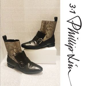 Phillip Lim Black &Silver Embossed Leather Boots